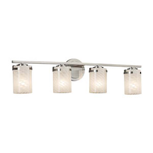 Fusion - Atlas Brushed Nickel Four-Light LED Bath Bar with Cylinder Flat Rim Weave Shade