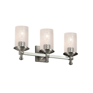 Eco Deco Brushed Nickel Three-Light LED Bath Vanity with Seeded Glass