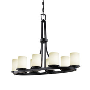 Fusion Matte Black Eight-Light Chandelier