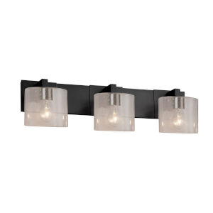 Fusion Modular Matte Black Three-Light LED Bath Bar