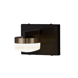 Fusion Matte Black and Brass LED Wall Sconce