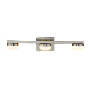 Fusion Puck Brushed Nickel Three-Light LED Bath Vanity