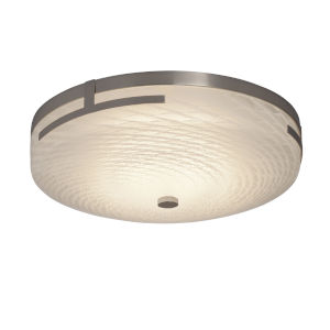 Fusion Brushed Nickel 14-Inch LED Flush Mount with Weave Glass