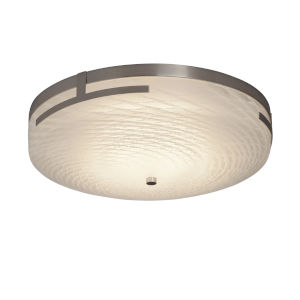 Fusion Brushed Nickel 19-Inch LED Flush Mount with Weave Glass