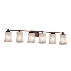 Veneto Luce - Tetra Dark Bronze Six-Light LED Bath Bar with Cylinder Rippled Rim White Frosted Shade