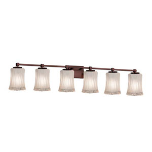 Veneto Luce - Tetra Dark Bronze Six-Light Bath Bar with Cylinder Rippled Rim White Frosted Shade