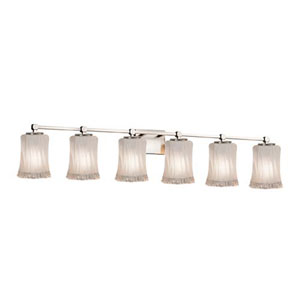 Veneto Luce - Tetra Brushed Nickel Six-Light Bath Bar with Cylinder Rippled Rim White Frosted Shade