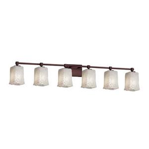 Veneto Luce - Tetra Dark Bronze Six-Light LED Bath Bar with Square Rippled Rim Whitewash Shade