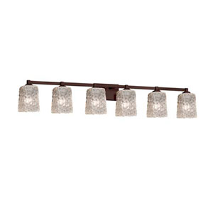 Veneto Luce - Regency Dark Bronze Six-Light LED Bath Bar with Square Rippled Rim Clear Textured Shade