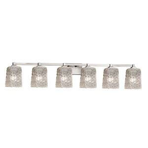 Veneto Luce - Regency Brushed Nickel Six-Light Bath Bar with Square Rippled Rim Clear Textured Shade