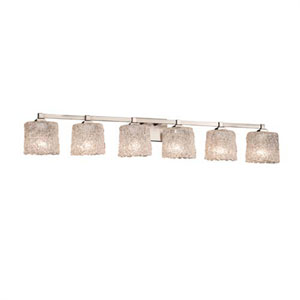 Veneto Luce - Regency Dark Bronze Six-Light Bath Bar with Oval Lace Shade