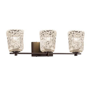 Veneto Luce - Era Dark Bronze Three-Light LED Bath Bar with Cylinder Rippled Rim Clear Textured Shade
