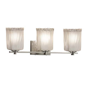 Veneto Luce - Era Brushed Nickel Three-Light Bath Bar with Square Rippled Rim White Frosted Shade