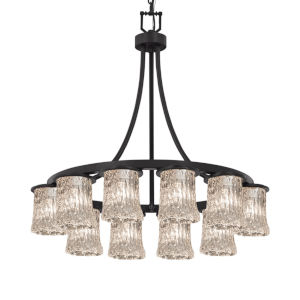 Veneto Luce Matte Black 12-Light LED Chandelier