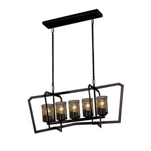 Wire Mesh - Aria Polished Chrome Five-Light Chandelier with Cylinder Flat Rim Wire Mesh Shade