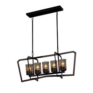 Wire Mesh - Aria Dark Bronze Five-Light Chandelier with Cylinder Flat Rim Wire Mesh Shade