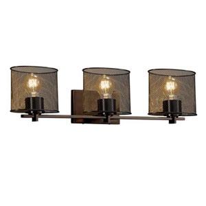Wire Mesh - Era Dark Bronze Three-Light Bath Bar with Oval Wire Mesh Shade
