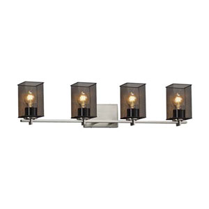 Wire Mesh - Era Brushed Nickel Four-Light Bath Bar with Square Flat Rim Wire Mesh Shade