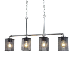 Wire Mesh - Bronx Brushed Nickel Five-Inch Four-Light Chandelier