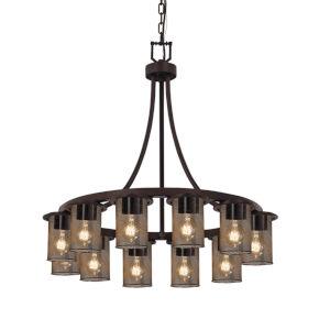 Wire Mesh Dark Bronze 12-Light Chandelier
