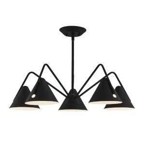 Zag Matte Black Five-Light LED Chandelier