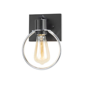 Volta Matte Black and Chrome One-Light Wall Sconce