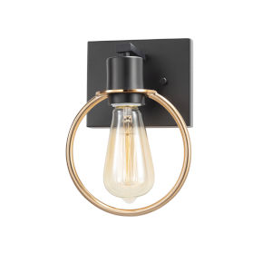 Volta Matte Black and Brass One-Light Wall Sconce