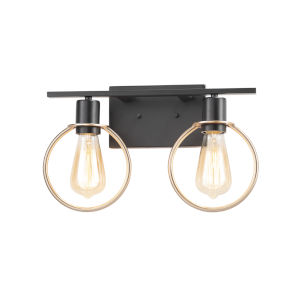 Volta Matte Black and Brass Two-Light Bath Vanity