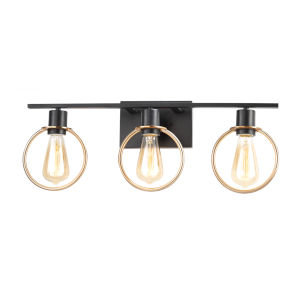 Volta Matte Black and Brass Three-Light Bath Vanity