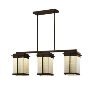 Porcelina - Pacific Brushed Nickel Eight-Inch Three-Light LED Outdoor Chandelier