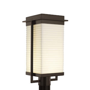 Porcelina - Pacific Brushed Nickel Nine-Inch LED Outdoor Post Light with Sawtooth Shade