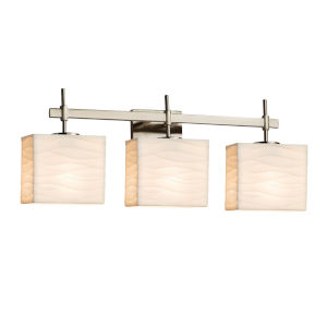 Porcelina Union Brushed Nickel Three-Light Bath Vanity