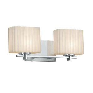 Porcelina - Era Brushed Nickel Two-Light LED Bath Bar with Rectangle Pleats Shade