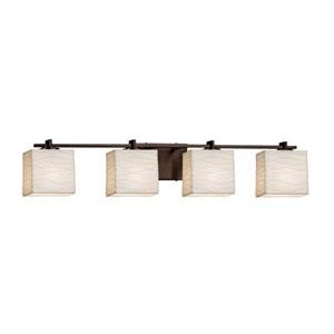 Porcelina - Era Dark Bronze Four-Light LED Bath Bar with Rectangle Waves Shade