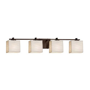 Porcelina - Era Polished Chrome Four-Light LED Bath Bar with Rectangle Waves Shade