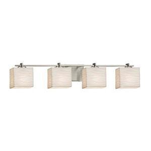 Porcelina - Era Brushed Nickel Four-Light LED Bath Bar with Rectangle Waves Shade