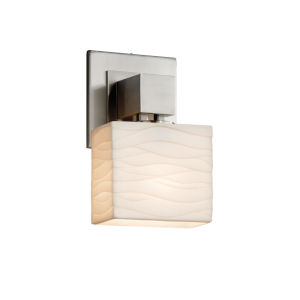 Porcelina Aero Brushed Nickel One-Light Wall Sconce with Rectangle Shade