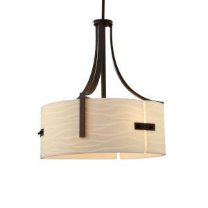 Porcelina - Lira Polished Chrome 18-Inch Three-Light Drum Pendant