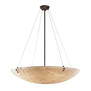 Porcelina Dark Bronze Six-Light LED Pendant with Banana Leaf Texture
