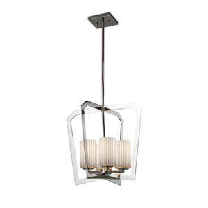 Limoges - Aria Polished Chrome Four-Light Chandelier with Cylinder Flat Rim Pleats Shade
