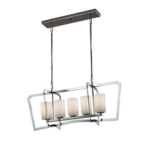 Porcelina - Aria Polished Chrome Five-Light LED Chandelier with Cylinder Flat Rim Pleats Shade