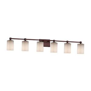 Limoges - Tetra Dark Bronze Six-Light LED Bath Bar with Cylinder Flat Rim Pleats Shade