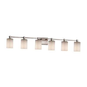 Limoges - Tetra Brushed Nickel Six-Light LED Bath Bar with Cylinder Flat Rim Pleats Shade