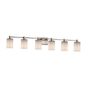 Limoges - Tetra Brushed Nickel Six-Light Bath Bar with Cylinder Flat Rim Pleats Shade