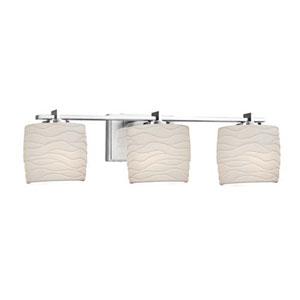 Limoges - Era Polished Chrome Three-Light Bath Bar with Oval Waves Shade