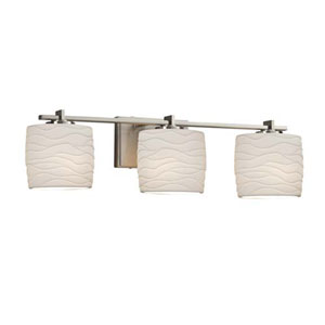 Limoges - Era Brushed Nickel Three-Light Bath Bar with Oval Waves Shade
