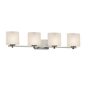 Limoges - Era Brushed Nickel Four-Light LED Bath Bar with Oval Pleats Shade