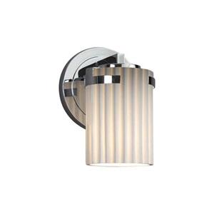 Limoges - Atlas Polished Chrome LED LED Wall Sconce with Cylinder Flat Rim Pleats Shade