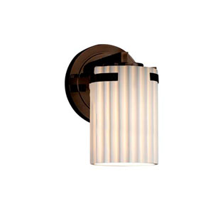 Limoges - Atlas Dark Bronze LED LED Wall Sconce with Cylinder Flat Rim Pleats Shade
