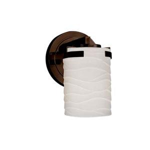 Limoges - Atlas Dark Bronze LED LED Wall Sconce with Cylinder Flat Rim Waves Shade
